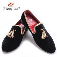 Piergitar nuevo estilo 2016 Artesanal Hombres zapatos de terciopelo de oro borla y oro costura de Fiesta y Banquete Hombres holgazanes de los hombres pisos