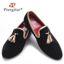 Piergitar new style 2017 Handcraft Men velvet shoes with gold tassel and gold stitching Prom and