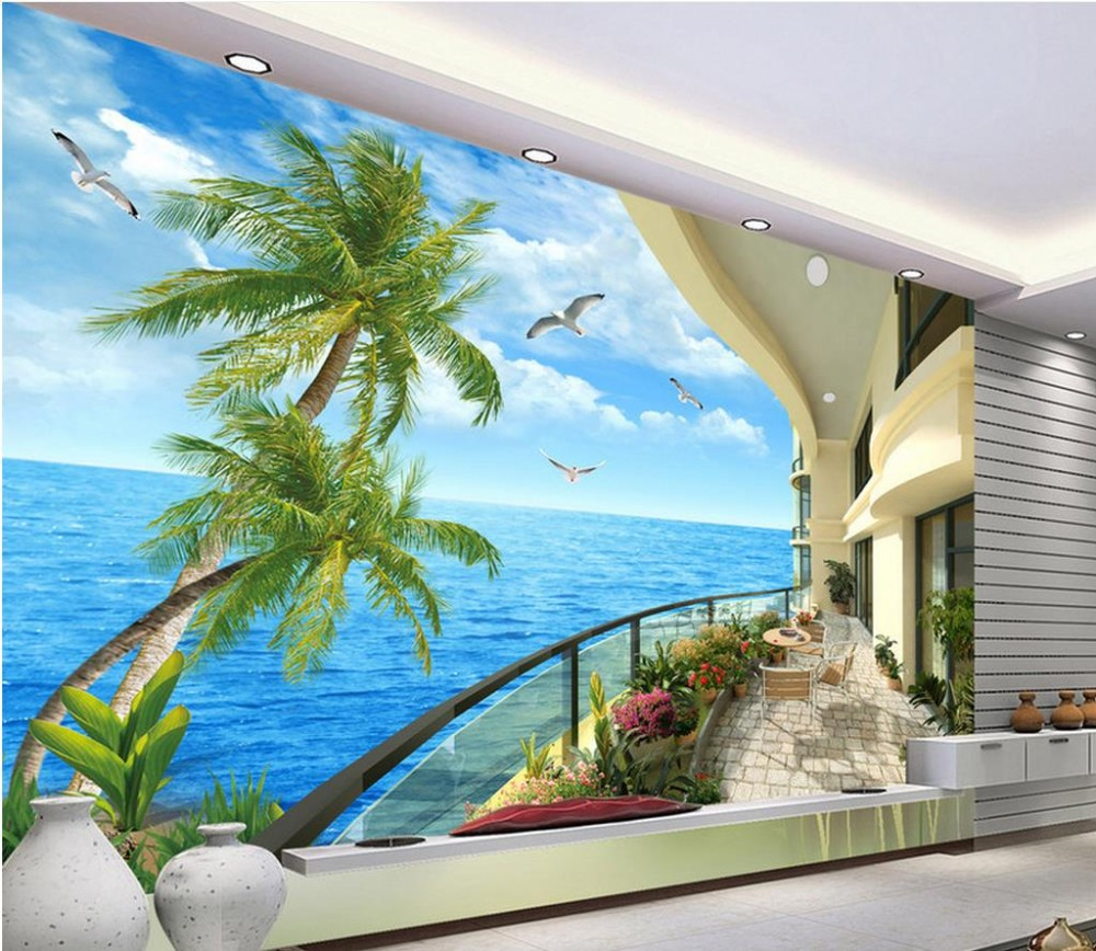 Papel de Parede 3D Wallpaper Murals balcony scenery Wall Mural Living room Bedroom Modern Wall Papers Decoration custom papel de parede infantil see graffiti mural for sitting room sofa bedroom tv wall waterproof vinyl which wallpaper