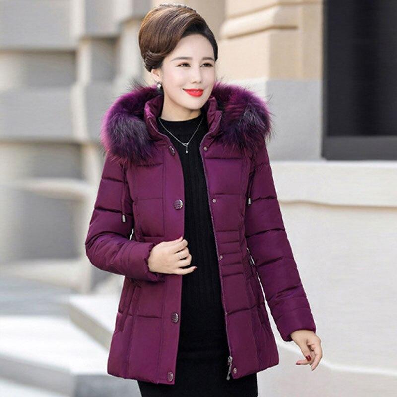 Black blue D'hiver Capuche Section Mlinina Coupe Maman Coton De Femmes 2019 Nouvelles Longue Taille À red purple Manteau Col Jacket vent Pour Fourrure Épaississent 4xl Grande wwOqBCg