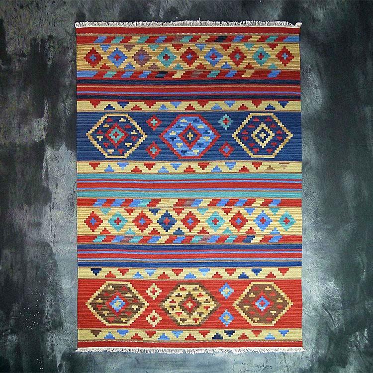 Turkish Rug Orange: 100% Wool Hand Woven Blue Orange Kilim Carpet Kilim Rug
