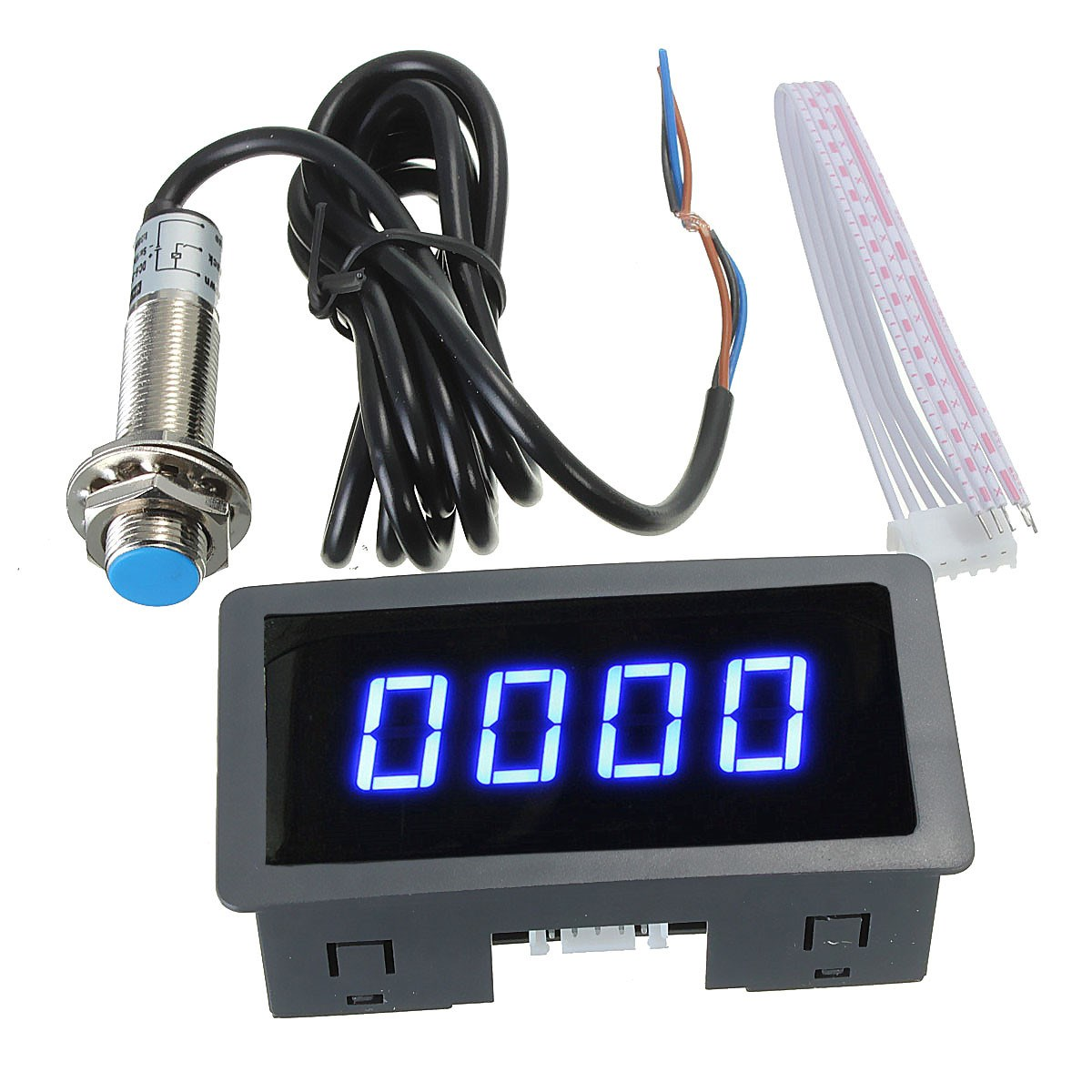 4 Digital LED Blue Tachometer RPM Speed Meter+Hall Proximity Switch Sensor NPN 012602 motor speed sensor module w switch deep blue