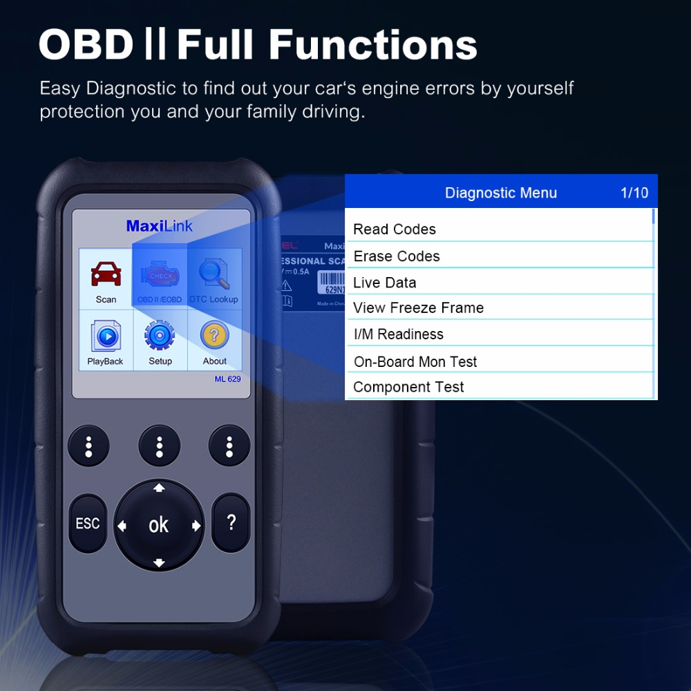 Image 2 - Autel ML629 OBD2 Scanner Car Diagnostic Tool Code Reader +ABS/SRS Auto Tool, Turns off Engine Light (MIL) and ABS/SRS