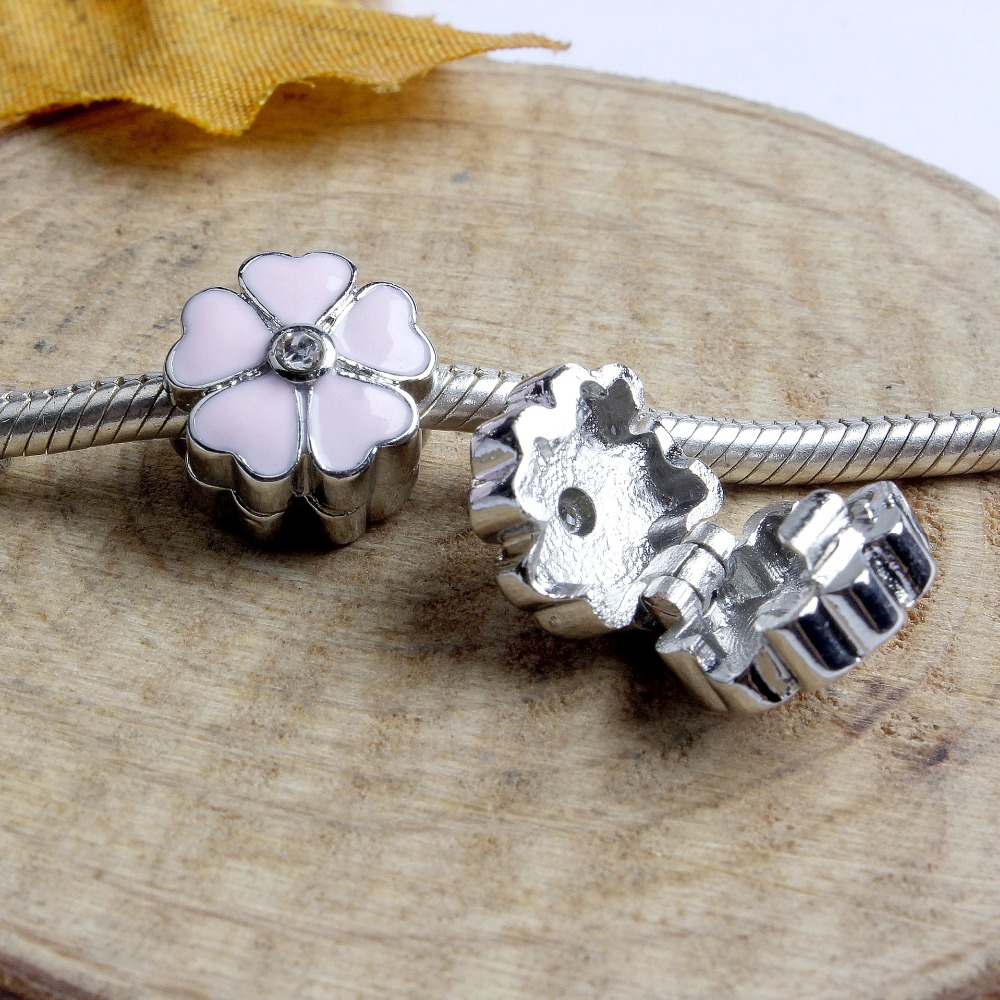 Pandora Jewelry Free Shipping: Free Shipping 1pc Silver PINK Daisy Cherry Flower Safety