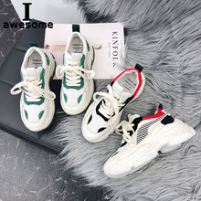 Купить с кэшбэком Platform Shoes Women Sneakers Trainers Genuine Leather Thick Sole Chunky Shoes Women Flats Shoes Upper Dad Shoes Zapatos Mujer