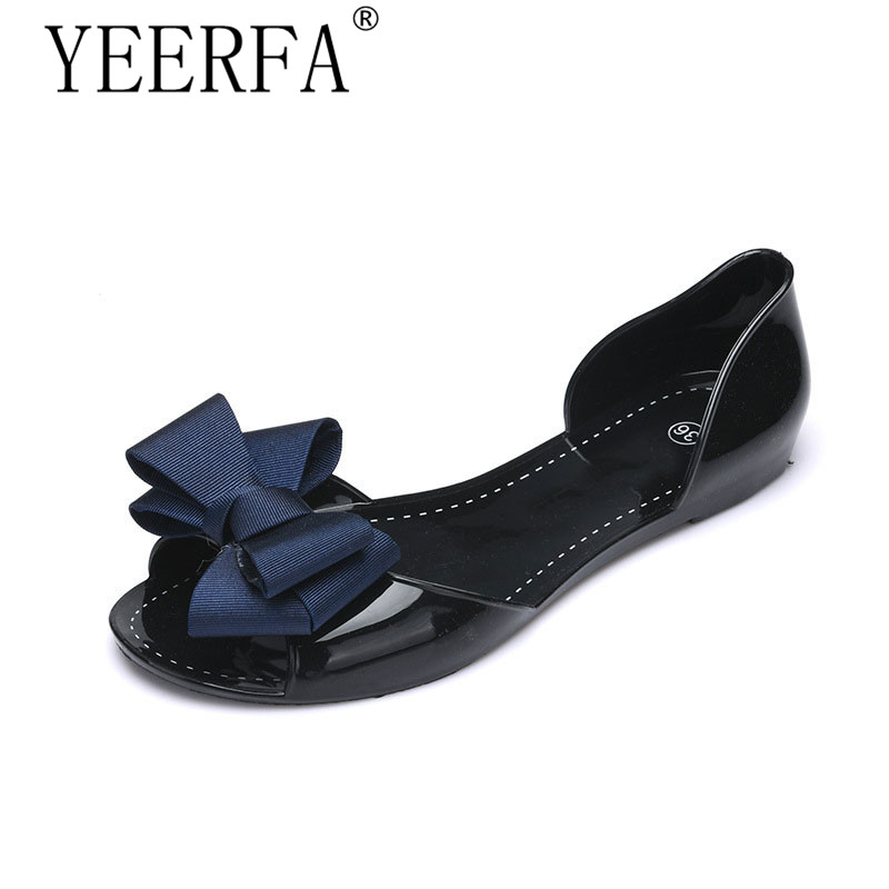 YEERFA Women Jelly Sandals Beach Jelly Shoes Woman Summer style Flip Flops Bowtie Slippers Slip On Flats Casual Women Shoes стоимость