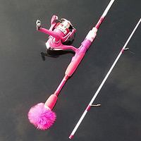 High quality temptation Weight Rotating cast rock Convenient pink high carbon rod 1.98M girl ice fishing rod Free shipping sale