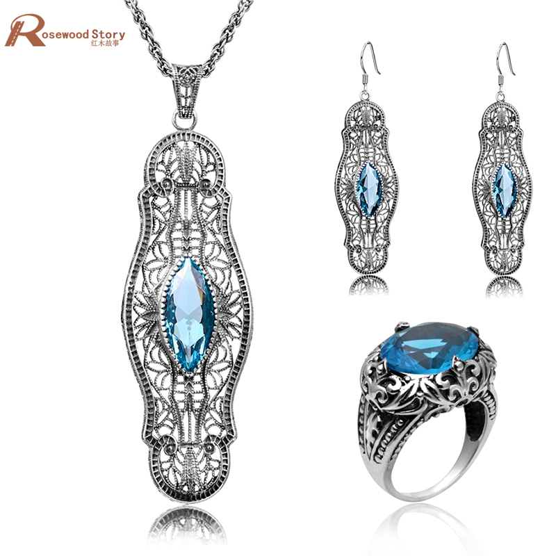 Ethiopian Wedding Jewelry Sets Blue Rhinestone Crystal For Women 925 Sterling Silver Earrings Ring Pendant Bridal Jewelry Set charming embellished blue rhinestone wedding ring