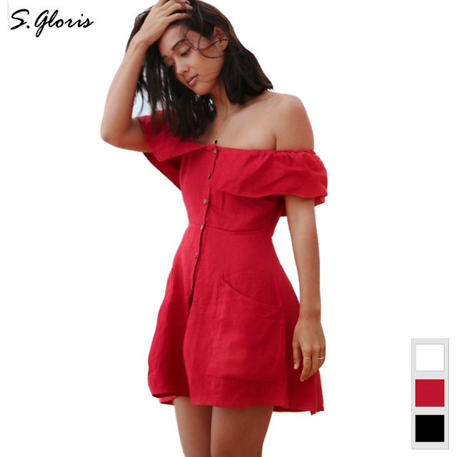31bac6b40420 M.H.Artemis Cute Off Shoulder Ruffle Detail Button Up Chic Mini Dress High  Street Wear Casual Girls Vestidos