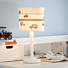 Creative Fashion Personality Car White Wood Fabric Led E27 Table Lamp For Boy Children's Room Bedroom Bedside Lamp 1773