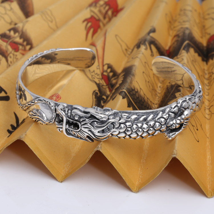 Handmade Thailand 925 Silver Dragon Bangle Vintage Sterling Silver Dragon Symbol Bangle Real Pure Siver Dragon BangleHandmade Thailand 925 Silver Dragon Bangle Vintage Sterling Silver Dragon Symbol Bangle Real Pure Siver Dragon Bangle