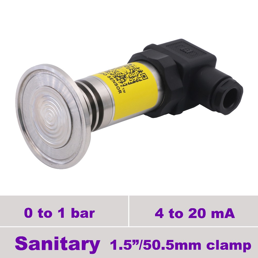 CE conformity, 4 20 mA sanitary pressure transducer, supply 9 to 30 v, 1 bar, 100 kpa gauge, connection 1 1/2 in clamp fittingCE conformity, 4 20 mA sanitary pressure transducer, supply 9 to 30 v, 1 bar, 100 kpa gauge, connection 1 1/2 in clamp fitting