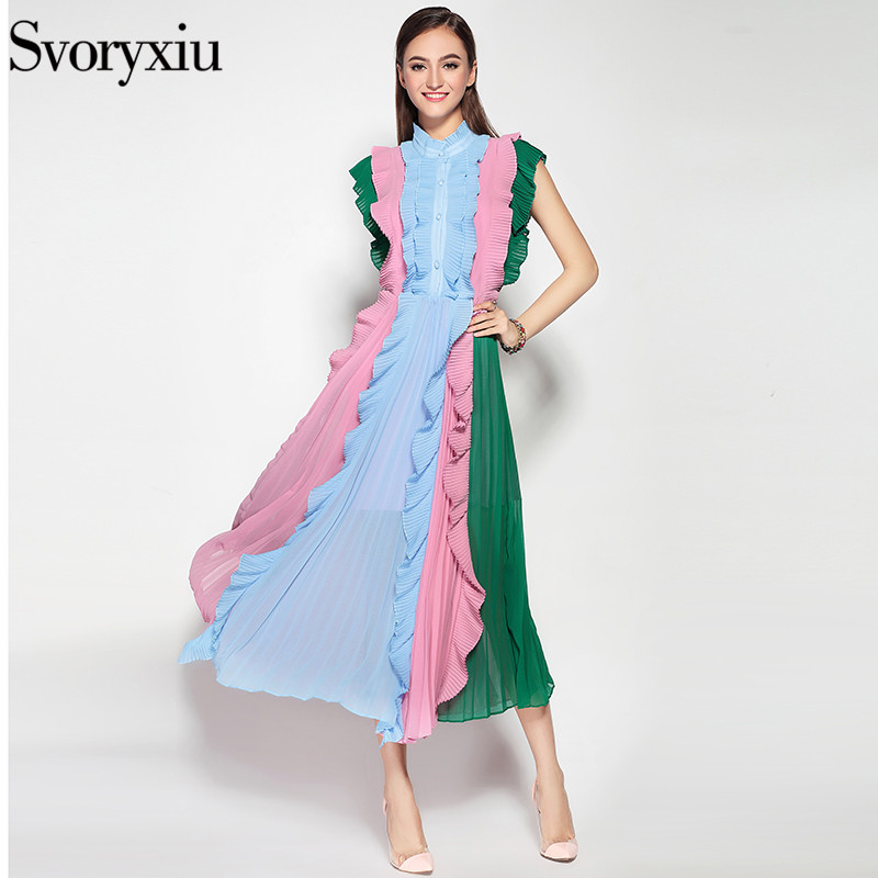 Svoryxiu 2016 High Quality Runway Designers Beach Dress Women Collar Pleated Flounced Leisure Women Fringe Long Dress