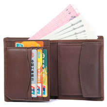 J.M.D Cow Leather Casual And Fashion Wallet  Top Quality Two Folds Short Business Card Holder Brown 8152C