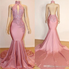 Real Images High Neck Backless Pink Prom Dresses Lace Appliques Beads Sequins Satin Mermaid Evening Gowns Party