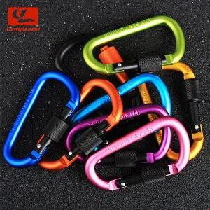 Image 2 - 8cm אלומיניום סגסוגת אביב Carabiner D טבעת מפתח שרשרת קליפ רב צבע קמפינג Keyring הצמד וו חיצוני נסיעות ערכת Quickdraws