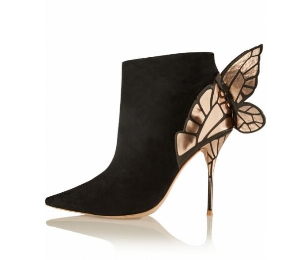 Sexy Butterfly Wing Ankle Boots Women Metallic Leather Gold-tone Stiletto Heels Boot Autumn Winter Pointed Toe High Heel Boots stiletto metallic ankle strap heels