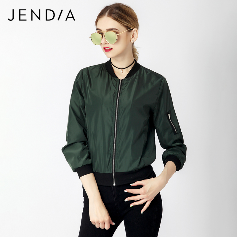JENDIA Women Casual Bomber Jacket Coat Autumn Winter Windbreaker Tops Long Sleeve Fashion Stand Collar Jackets Slim Zipper Coats