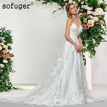 White Ivory A line Wedding Dresses V Neck Appliques Straps Court Train Bridal Gown Wedding Vestidos de Noivas Custom цена