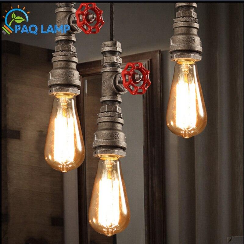 ФОТО Vintage retro pendant lamp the pipe head iron pendant Restaurant sitting room bar stores light fixture~NO BLUB