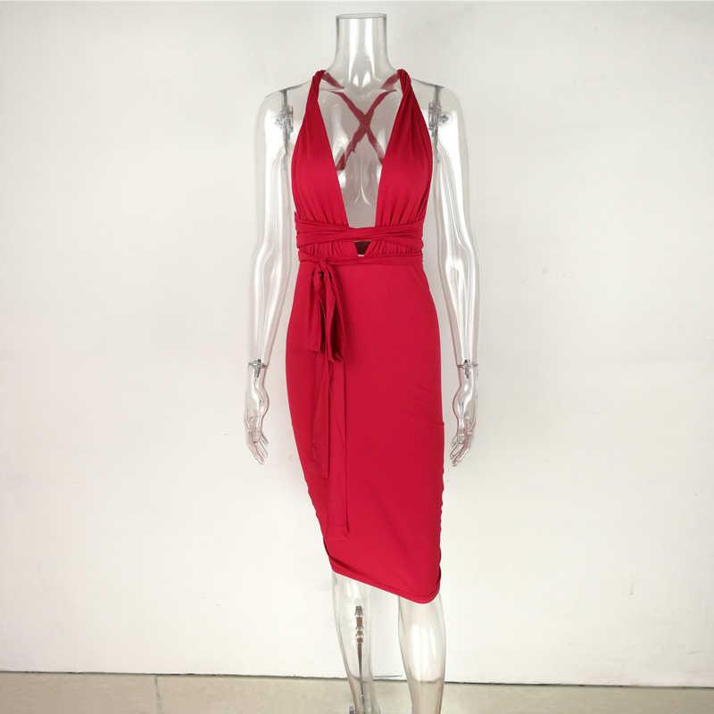 Сексуальное платье с глубоким v-образным вырезом и открытой спиной, эластичные платья для вечеринок, сексуальное Клубное облегающее платье-карандаш средней длины, vestidos de fiesta