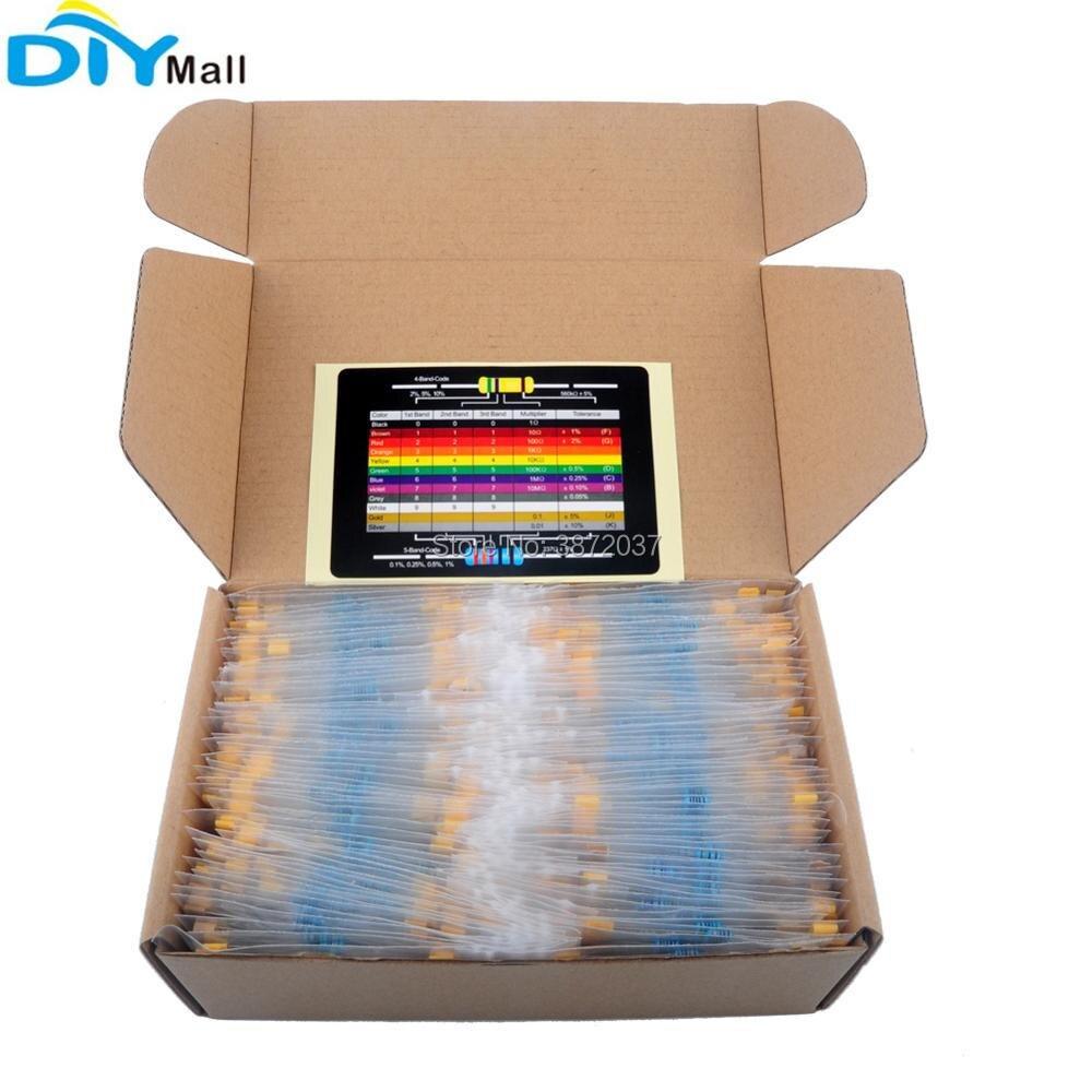 Valores 1 4 w 1% Precisão Etiquetado Metal Filme Resistor Variedade Kit 2600 Pçs – Set 130