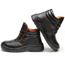 Military Combat Men's High Top Outdoor Steel Toe Anti Smashing Work Boots Leather Shoes Men Iron Nose Anti-puncture Safety Shoes