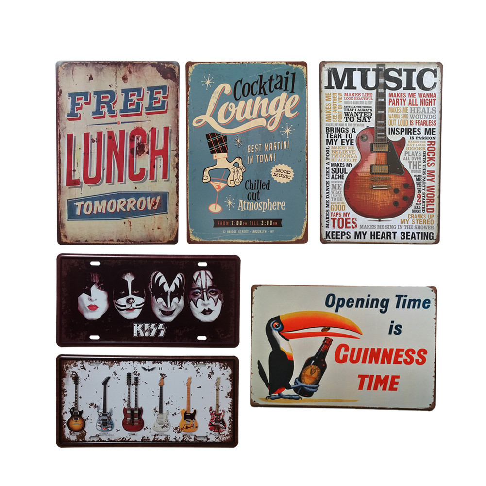 Vintage metal tin sign poster music wine decorative signs for Plaque metal deco pour mur