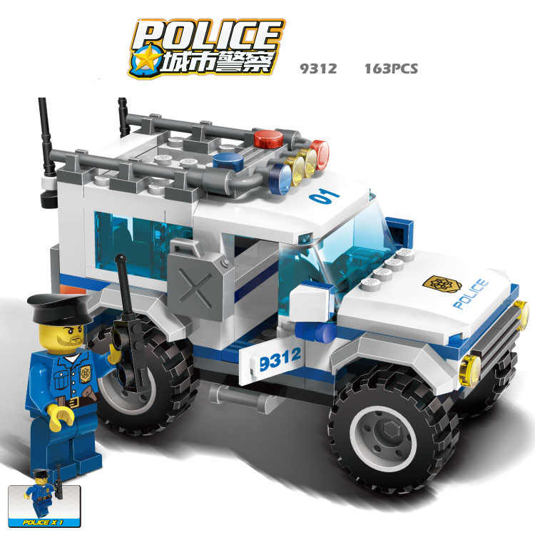 GUDI Legoings City Police SUV 163pcs Bricks Car Building Blocks Classic Assembled Gift Sets Toys For Children
