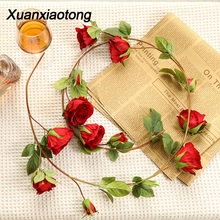 цены Xuanxiaotong 1pcs 150cm Artificial Rose Flower Vine for Home Garden Balcony Wedding Ornament arranjos com flores artificiais