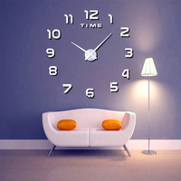 Digital Clock Wall Clock DIY Wall Clock Modern EVA Material Living Room Transparent Mirror 2018 New