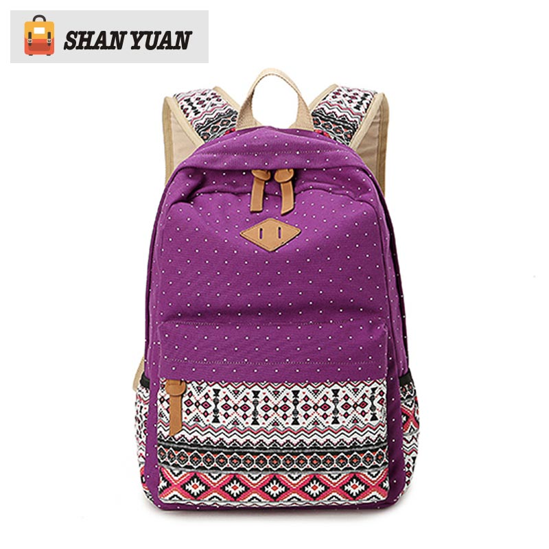 Fashion Women Backpacks for School Teenagers Girls Vintage Stylish Ladies Bag Backpack Female Purple Dotted Printing