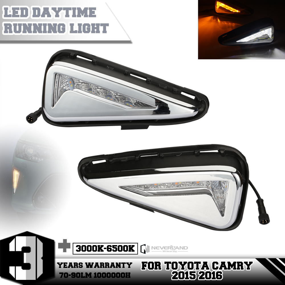 ФОТО One Set LED Daytime Running Lights DRL For Toyota Camry 2015 2016 Turn Signal Fog Lamp Car Styling Amber White Freeshipping D20