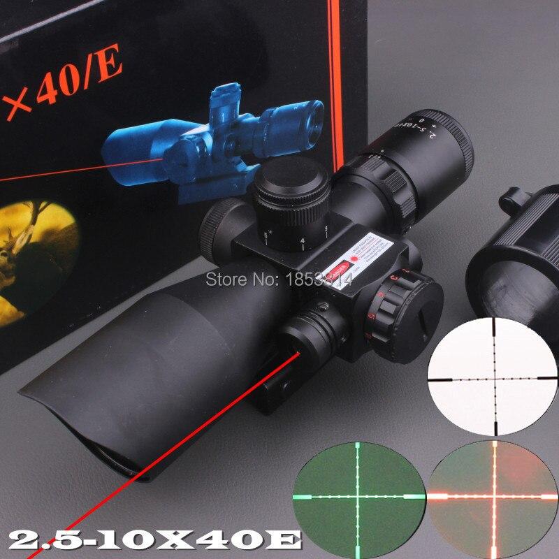 2.5-10x40 Tactical Luneta Para Rifle Scope Red Laser Dual illuminated Mil-dot Rail Mount Airsoft Riflescope Telescopic Sight 2 5 10x40 tactical rifle scope dual illuminated mil dot with red laser rail mount