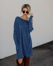 2018 New Spring Winter Fashion Plus Size Women Clothing Knitted Casual Dresses Long Sleeve Gray Red Black Dress Loose Mini Dress