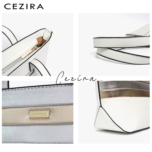 CEZIRA Designer Brand Women Bag Vegan Leather Fashion Tote Bags Female Large Capacity Shoulder Bags for Girls Patchwork Strip 3