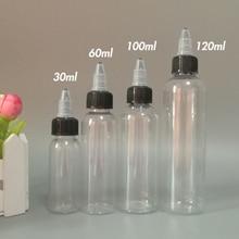 50 sztuk kształt pióra butelki tłuszczu 30ml 60ml 100ml 120ml puste plastikowe butelki z kroplomierzem z Twist off czapki dla E ciecz Vape E sok