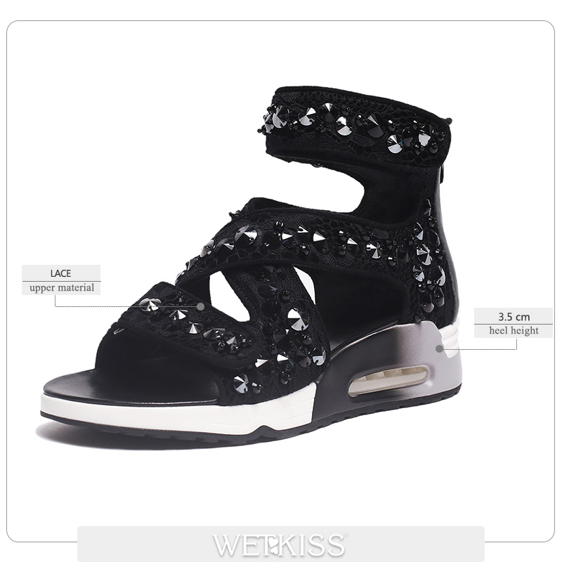 Femmes forme Cuir Plate Fille Rivet Véritable Bout Mode Sandales Col Wetkiss Chaussures En Occasionnels Coins Zipper De Noir À Haut D'été Ouvert xqEwpIgR