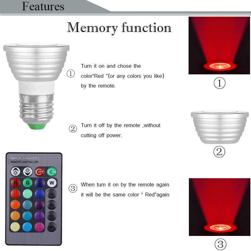 Цветная (RGB) Светодиодный лампа Светодиодный прожектор E27/E14/GU10 дистанционного Управление Цвет Изменяемая AC85-265V светодиодный освещение