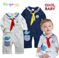 New 2016 Cute Sailor Baby Boy One Piece Romper Long Sleeve Boys Jumper Coverall Jumpsuit New Born Infant Clothes Bebe Clothing