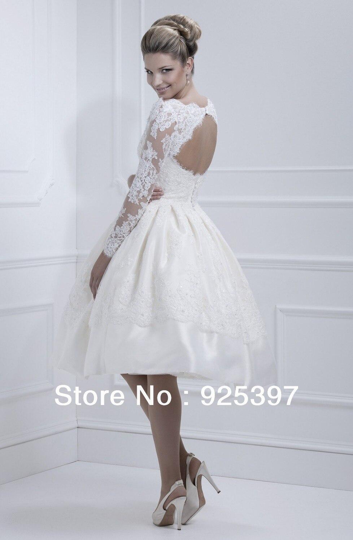 Short Wedding Dresses with Keyhole Back