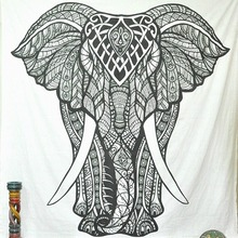 ФОТО elephant mandala tapestry black and white tapestry animal wall hanging beach towel home simple decoration