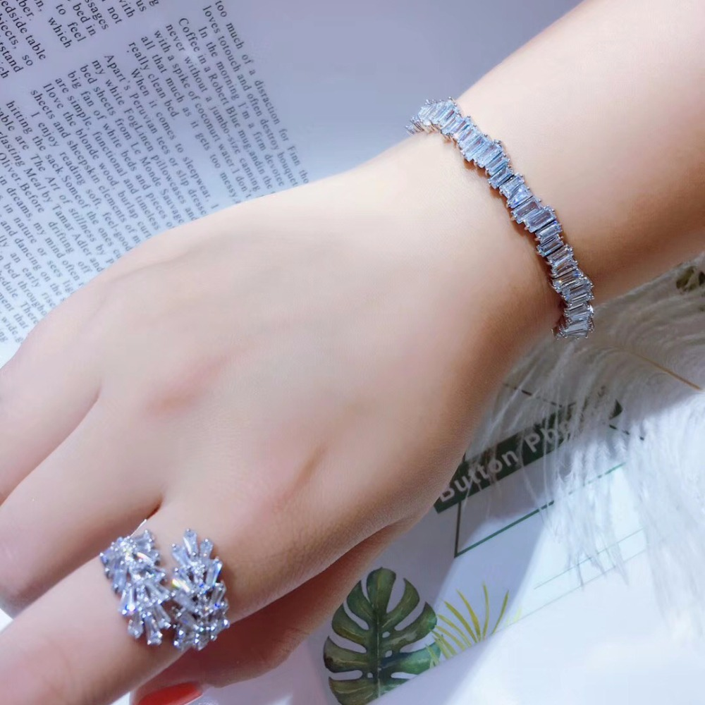 New Popular Brand AAA Cubic Zirconia Man and Women Baguette Adjust Bracelet Bangle Cuff CopperThick Bangle S0718