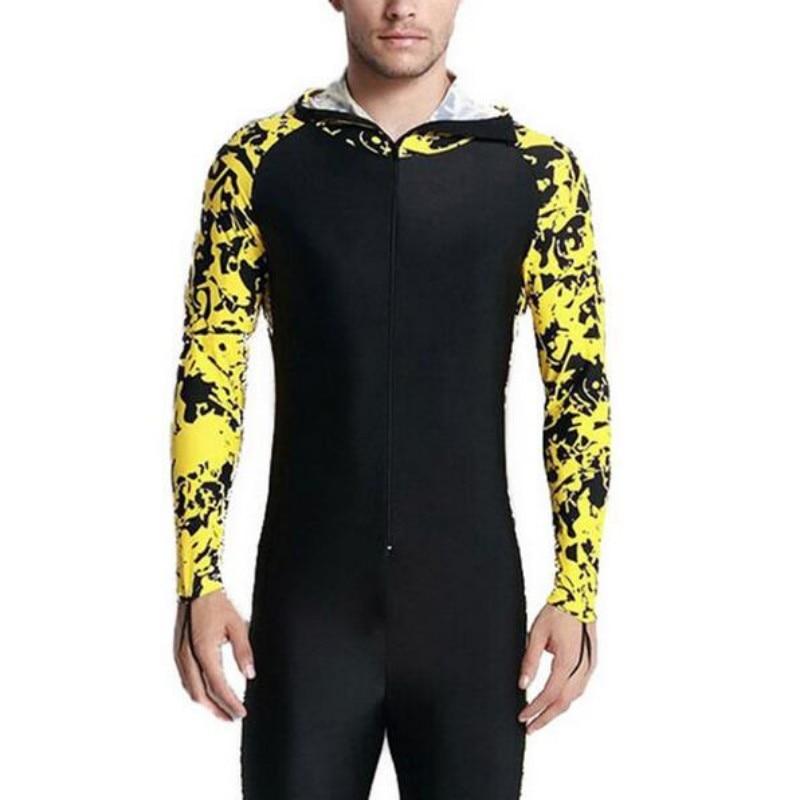 Full Length Hoodie Mens Swimsuit One Piece Sunscreen Surfing Beachwear Quick Dry Kitesurf Lycra Swimwear Big Size 4XL Rash Guard