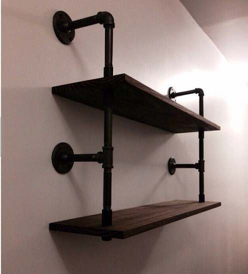 Loft Industrial Rustic Urban Iron Pipe Wall Mounted Shelf 2 Layers Wooden  Board Shelving Home Restaurant