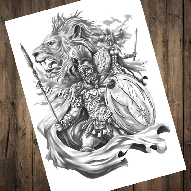 Top fashion vintage Tattoos design about warrior Patterned Posters Kraft paper wall decoration Barber shop Home Decor HM-043