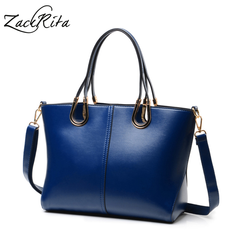 ZackRita Genuine Leather Luxury Handbags Women Bags Designer New 2017 Large Solid Tote Bag Ladies Bolsa Sac A Main Bolsos B80 silver genuine leather large casual tote bag luxury handbags women bags designer ladies shoulder bag sac femme messenger bag v86