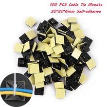 100 adet 20*20mm yüksek kaliteli dayanıklı siyah Zip kravat araba kablo tel çıkarılabilir kendinden yapışkanlı duvar tutucu kablo bağlar klip