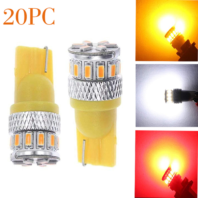 20X w5w LED T10 LED Bus 18SMD 3014 Super Bright Turn Side License Plate Light Lamp Bulb parking light DC 12V Turn signal DRL