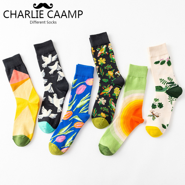 Fashion Autumn Winter New Men Crew Socks Creative Doodles Graphic Printing Harajuku Personality Trend  Men Cotton Socks J111